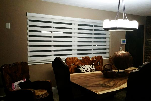 Transitional Shades Installed in Dining Room